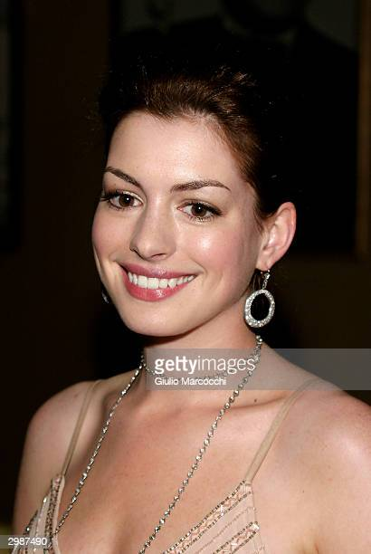 Actress Anne Hathaway arrives at the 54th Annual ACE Eddie Awards on February 15 2004 at the Beverly Hilton Hotel in Beverly Hills California