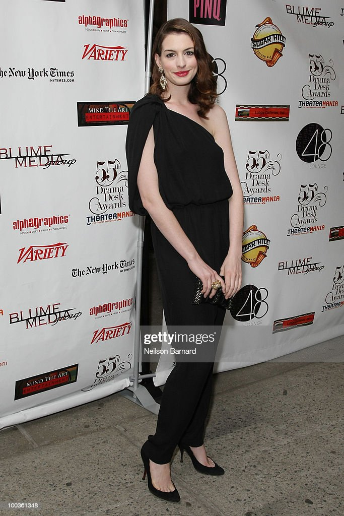 Actress Anne Hathaway arrives at the 55th Annual Drama Desk Awards at FH LaGuardia Concert Hall at Lincoln Center on May 23, 2010 in New York City.