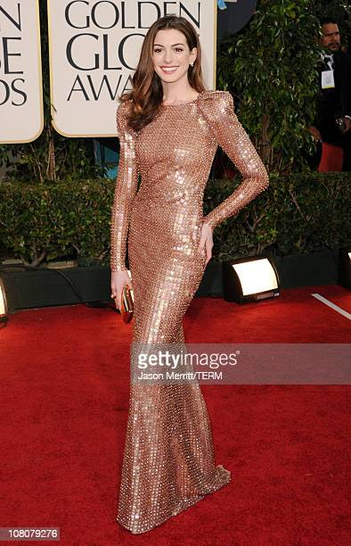 Actress Anne Hathaway arrives at the 68th Annual Golden Globe Awards held at The Beverly Hilton hotel on January 16, 2011 in Beverly Hills,...