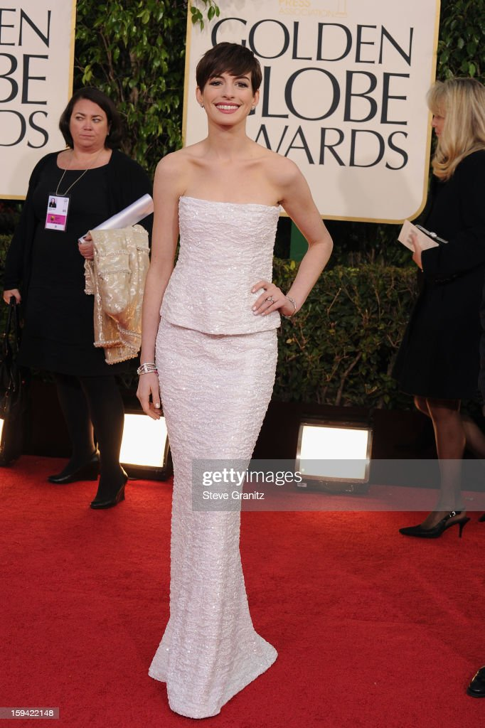 Actress Anne Hathaway arrives at the 70th Annual Golden Globe Awards held at The Beverly Hilton Hotel on January 13, 2013 in Beverly Hills, California.