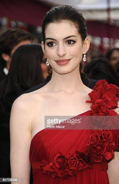 Actress Anne Hathaway arrives at the 80th Annual Academy Awards at the Kodak Theatre on February 24 2008 in Hollywood
