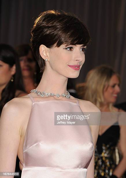 Actress Anne Hathaway arrives at the 85th Annual Academy Awards at Hollywood Highland Center on February 24 2013 in Hollywood California
