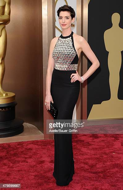 Actress Anne Hathaway arrives at the 86th Annual Academy Awards at Hollywood Highland Center on March 2 2014 in Hollywood California