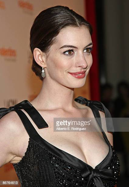 Actress Anne Hathaway arrives at the LA premiere of 'Valentino The Last Emperor' held at the LA County Museum of Art on April 1 2009 in Los Angeles...