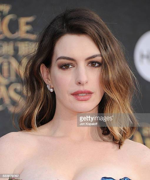 Actress Anne Hathaway arrives at the Los Angeles Premiere 'Alice Through The Looking Glass' at the El Capitan Theatre on May 23 2016 in Hollywood...