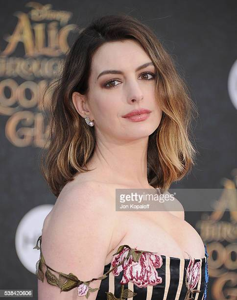 Actress Anne Hathaway arrives at the Los Angeles Premiere Alice Through The Looking Glass at the El Capitan Theatre on May 23 2016 in Hollywood...