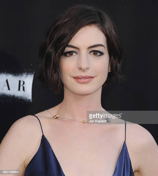 Actress Anne Hathaway arrives at the Los Angeles Premiere 'Interstellar' at TCL Chinese Theatre IMAX on October 26 2014 in Hollywood California