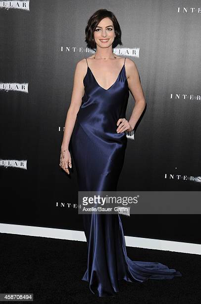 Actress Anne Hathaway arrives at the Los Angeles Premiere of 'Interstellar' at TCL Chinese Theatre IMAX on October 26 2014 in Hollywood California
