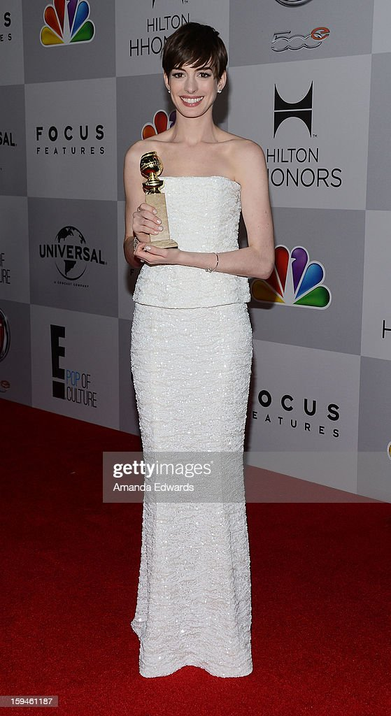 Actress Anne Hathaway arrives at the NBC Universal's 70th Golden Globes After Party at The Beverly Hilton Hotel on January 13, 2013 in Beverly Hills, California.