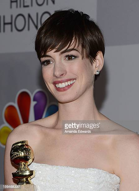 Actress Anne Hathaway arrives at the NBC Universal's 70th Golden Globes After Party at The Beverly Hilton Hotel on January 13 2013 in Beverly Hills...