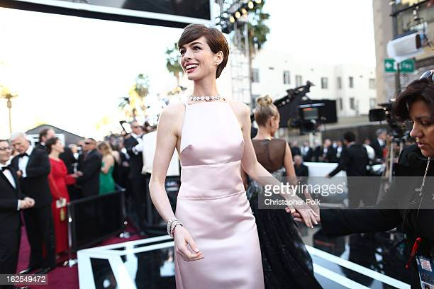 Actress Anne Hathaway arrives at the Oscars held at Hollywood Highland Center on February 24 2013 in Hollywood California