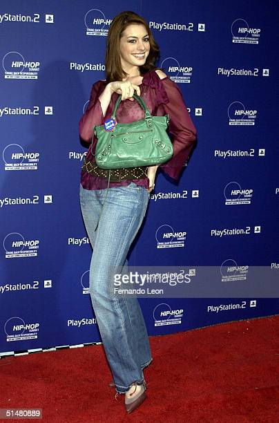 Actress Anne Hathaway arrives at the Playstation 2 And The HipHop Summit Present 'Race To The Polls' at Hammerstein Ballroom October 14 2004 in New...