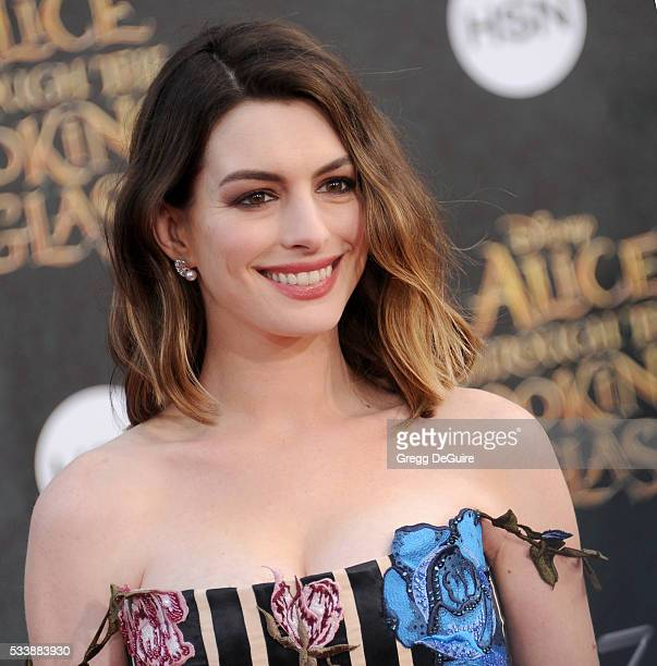 Actress Anne Hathaway arrives at the premiere of Disney's 'Alice Through The Looking Glass' at the El Capitan Theatre on May 23 2016 in Hollywood...