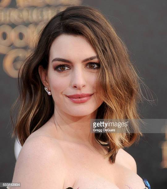 Actress Anne Hathaway arrives at the premiere of Disney's Alice Through The Looking Glass at the El Capitan Theatre on May 23 2016 in Hollywood...