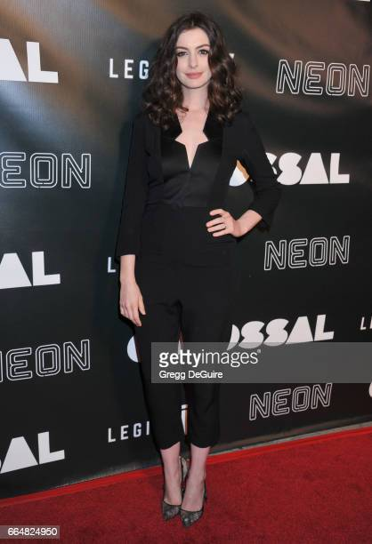 Actress Anne Hathaway arrives at the premiere of Neon's Colossal at the Vista Theatre on April 4 2017 in Los Angeles California