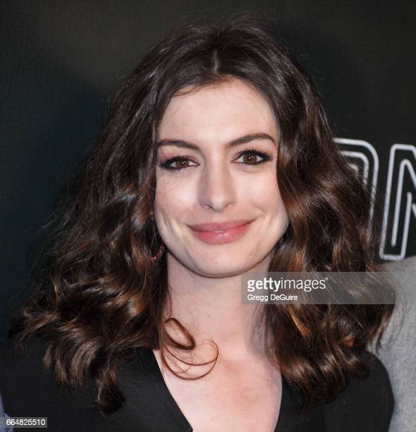 Actress Anne Hathaway arrives at the premiere of Neon's 'Colossal' at the Vista Theatre on April 4 2017 in Los Angeles California
