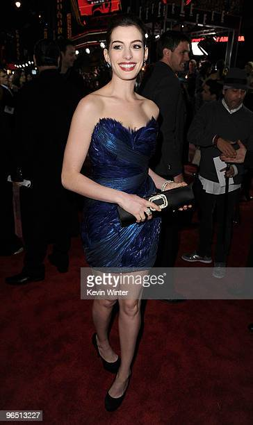 """Actress Anne Hathaway arrives at the premiere of New Line Cinema's """"Valentine's Day"""" held at Grauman�s Chinese Theatre on February 8, 2010 in Los..."""