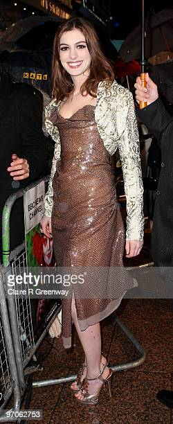 Actress Anne Hathaway arrives at the Royal World Premiere of 'Alice In Wonderland' at Odeon Leicester Square on February 25 2010 in London England