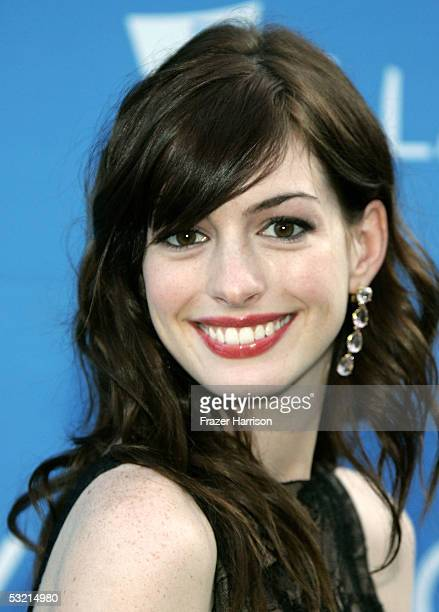 Actress Anne Hathaway arrives at the Stephen Sondheim's 75th Birthday Concert And ASCAP Foundation Benefit at the Hollywood Bowl on July 8, 2005 in...