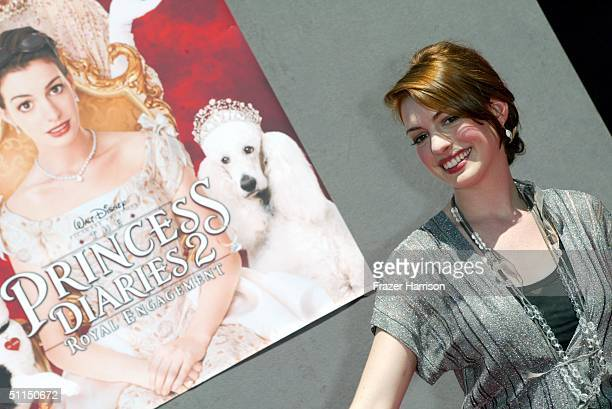 Actress Anne Hathaway arrives at the The Princess Diaries 2 Royal Engagement premiere held at Downtown Disneyland on August 7 2004 in Anaheim...