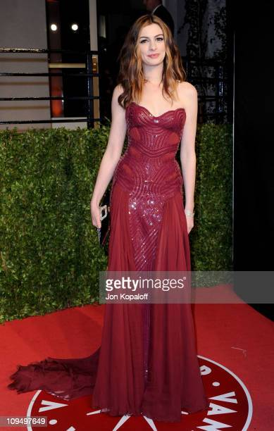 Actress Anne Hathaway arrives at the Vanity Fair Oscar Party held at Sunset Tower on February 27 2011 in West Hollywood California