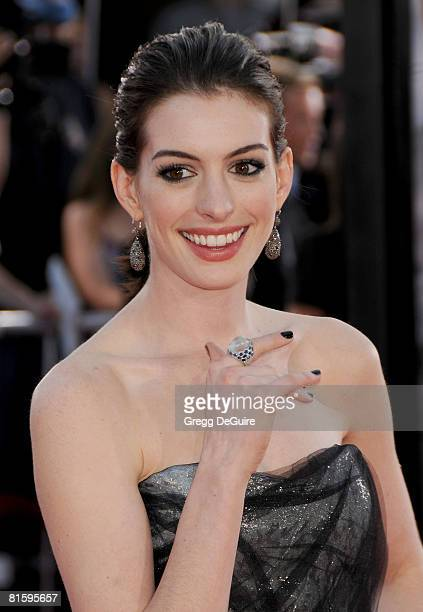 Actress Anne Hathaway arrives at The World Premiere of 'Get Smart' on June 16 2008 at the Mann Village Theatre in Westwood California