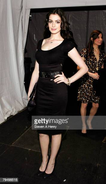 Actress Anne Hathaway arrives backstage at MercedesBenz Fashion Week Fall 2008 at Bryant Park February 3 2008 in New York City
