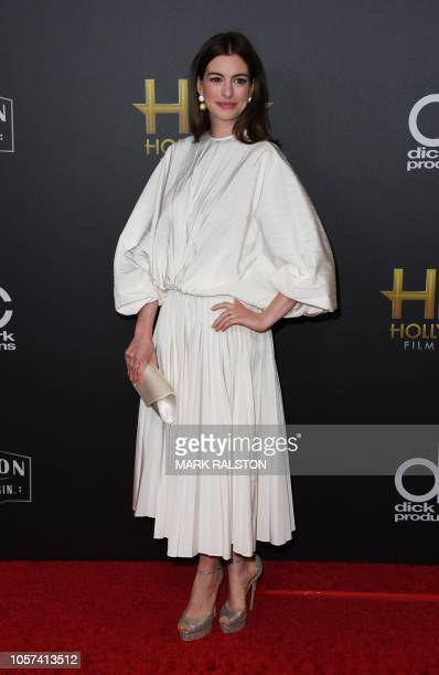 Actress Anne Hathaway arrives for the 22nd Annual Hollywood Film Awards at the Beverly Hilton hotel in Beverly Hills on November 4 2018