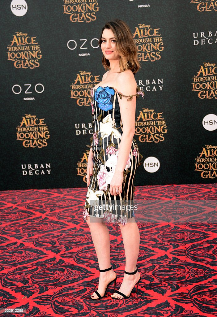 Actress Anne Hathaway arrives for the Premiere Of Disney's 'Alice Through The Looking Glass' held at the El Capitan Theatre on May 23, 2016 in Hollywood, California.