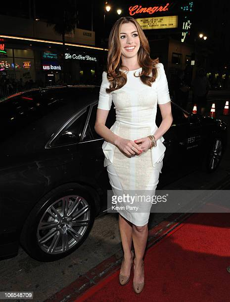 Actress Anne Hathaway arrives in an Audi A8 for the World Premiere of 'Love Other Drugs' at AFI Fest 2010 Presented By Audi at Grauman's Chinese...