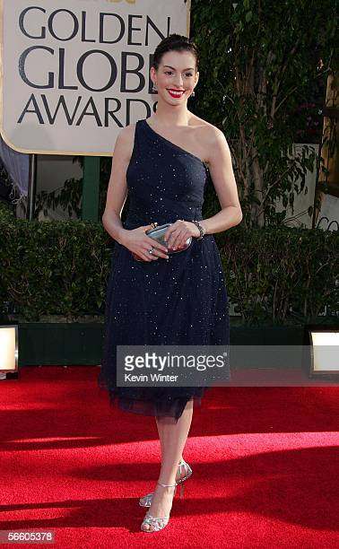 Actress Anne Hathaway arrives to the 63rd Annual Golden Globe Awards at the Beverly Hilton on January 16 2006 in Beverly Hills California