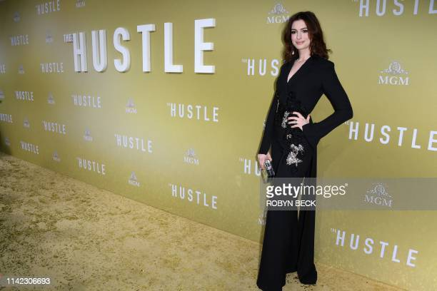 "Actress Anne Hathaway arrives to the premiere of ""The Hustle"" at the Arclight Cinerama Dome in Hollywood, California on May 8, 2019."