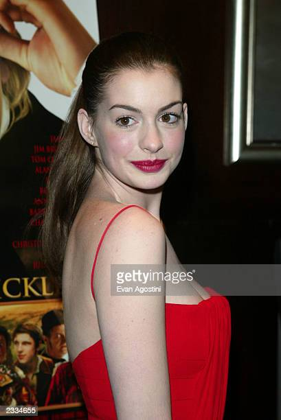 Actress Anne Hathaway arriving at the Nicholas Nickleby New York Premiere at the Beekman Theater New York City December 17 2002 Photo by Evan...
