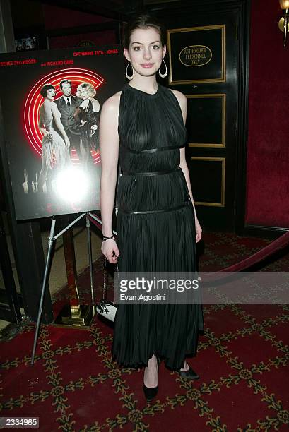 Actress Anne Hathaway at a special screening of Chicago to benefit GLAAD and Broadway Cares at the Ziegfeld Theater New York City December 18 2002...