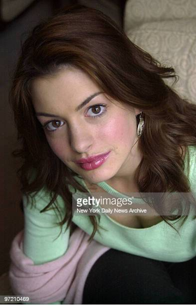 Actress Anne Hathaway at the Essex House hotel on Central Park South She stars in the upcoming film 'Ella Enchanted'