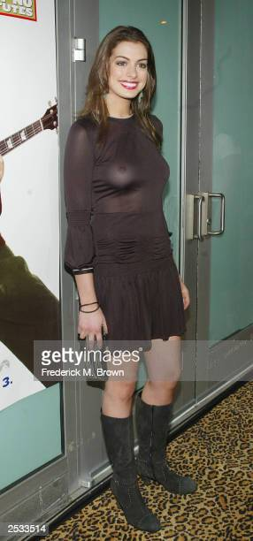 Actress Anne Hathaway attend the premiere of the movie School of Rock at the Cinerama Dome September 24 2003 in Hollywood California