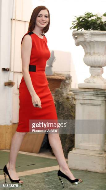 Actress Anne Hathaway attends a photocall to promote the movie 'Get Smart' at the Grand Hotel Hassler on July 7 2008 in Rome Italy