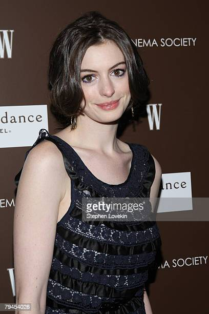 Actress Anne Hathaway attends a screening of 'Marc Jacobs Louis Vuitton' hosted by the Cinema Society and W at the Tribeca grand screeening room on...