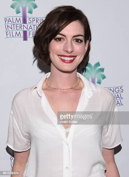 Actress Anne Hathaway attends a screening of 'Song One' at the 26th Annual Palm Springs International Film Festival Film Day 3 Film Screenings Events...