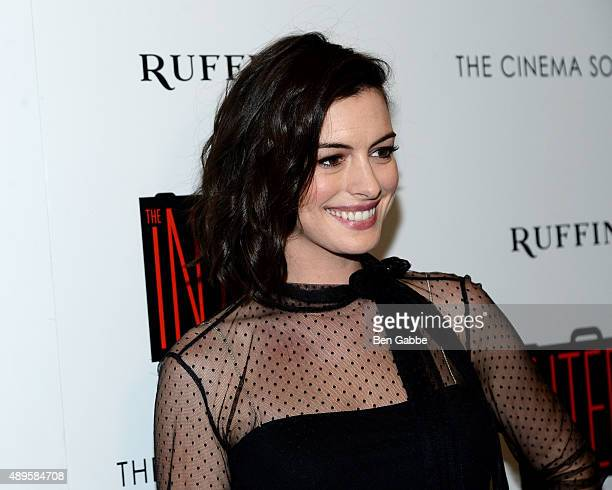 Actress Anne Hathaway attends a screening of Warner Bros Pictures' The Intern hosted by The Cinema Society and Ruffino on September 22 2015 in New...