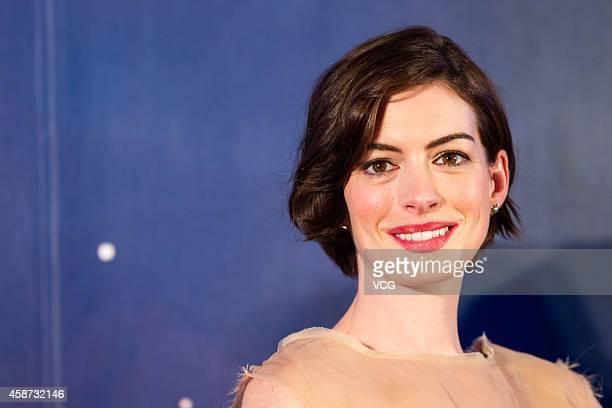 Actress Anne Hathaway attends Asian premiere of new movie Interstellar directed by Christopher Nolan on November 10 2014 in Shanghai China