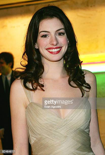 Actress Anne Hathaway attends Children And Art Honoring Stephen Sondheim's 75th Birthday postshow dinner at The Four Seasons on March 21 2005 in New...