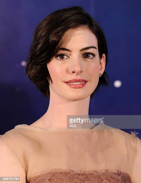 Actress Anne Hathaway attends director Christopher Nolan's film Interstellar premiere press conference at the Peninsula Shanghai on November 10 2014...