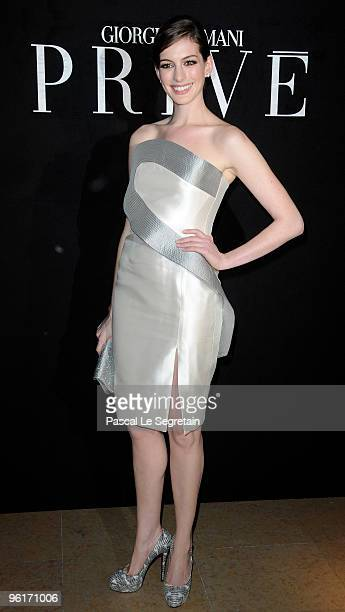 Actress Anne Hathaway attends Giorgio Armani Prive Fashion Show during Paris Fashion Week Haute Couture S/S 2010 at Palais de Chaillot on January 25...