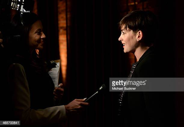 Actress Anne Hathaway attends Hollywood Stands Up To Cancer Event with contributors American Cancer Society and Bristol Myers Squibb hosted by Jim...