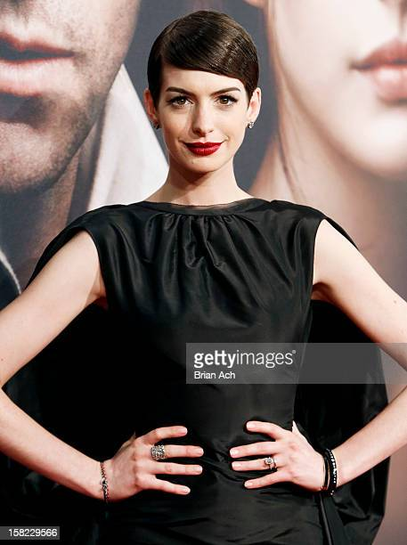 Actress Anne Hathaway attends 'Les Miserables' New York premiere at Ziegfeld Theater on December 10 2012 in New York City