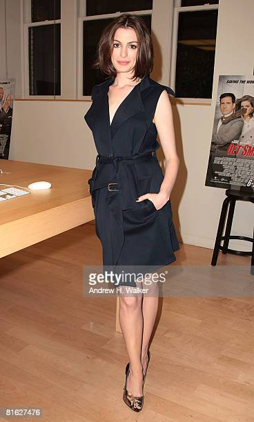 Actress Anne Hathaway attends 'Meet The Actors' hosted at the Apple Store Soho with Steve Carell and herself on June 18 2008 in New York