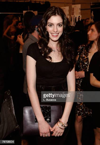 Actress Anne Hathaway attends Miss Sixty Fall 2008 during MercedesBenz Fashion Week at the Tent Bryant Park on February 3 2008 in New York City