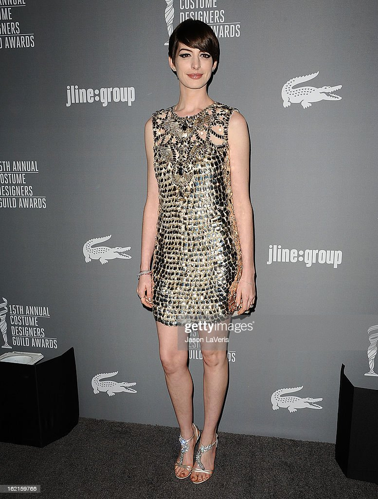Actress Anne Hathaway attends the 15th annual Costume Designers Guild Awards at The Beverly Hilton Hotel on February 19, 2013 in Beverly Hills, California.
