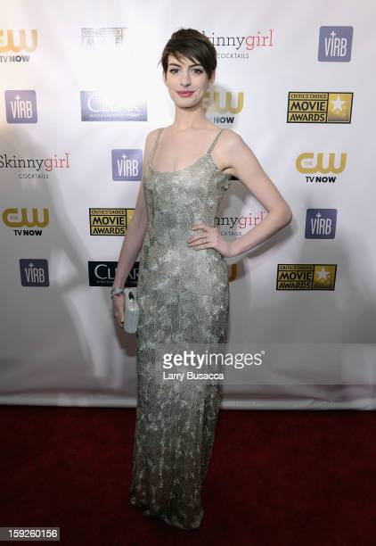 Actress Anne Hathaway attends the 18th Annual Critics' Choice Movie Awards held at Barker Hangar on January 10 2013 in Santa Monica California